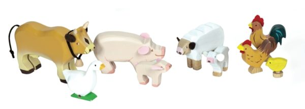 detská hračka pre dievča, pre chlapca. Drevené hračky z ekologických materiálov. Kôň, prasiatko, ovečka, kohút, sliepka, huska